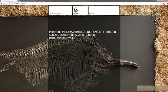 Screenshot der Urweltmuseums Internetseite