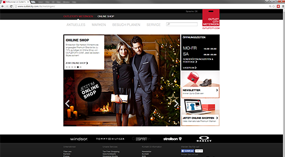 Screenshot der Website OUTLETCITY METZINGEN